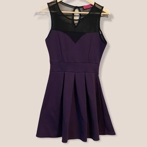 Boohoo Purple Fit and Flare Dress with Mesh